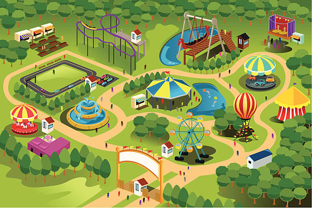 stockillustraties, clipart, cartoons en iconen met amusement park map - attractiepark
