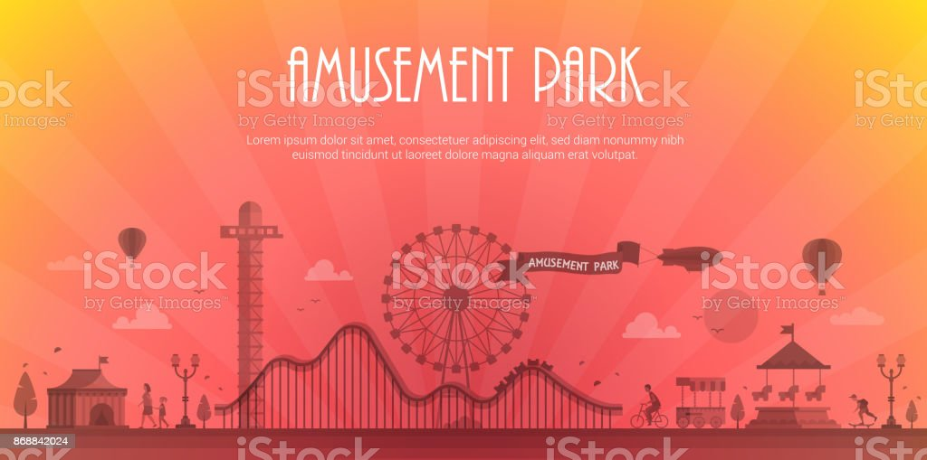 Amusement park - modern vector illustration with place for text vector art illustration