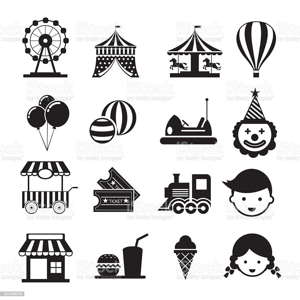 Amusement Park Mono Icons Set vector art illustration