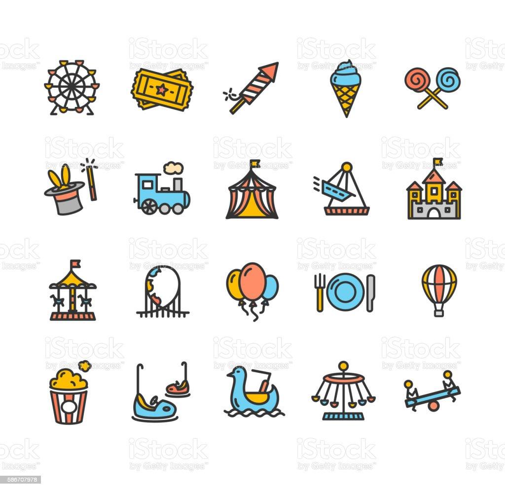 Amusement Park Outline Colorful Icon Set. Vector - ilustración de arte vectorial