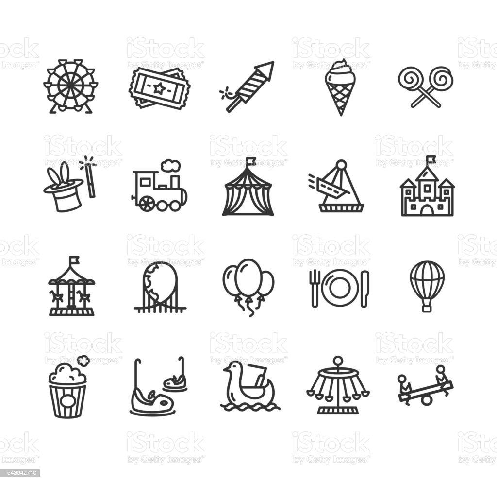 Amusement Park Outline Icon Set. Vector vector art illustration