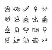 Amusement Park Outline Icon Set. Vector