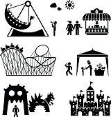 Amusement park pictogram icons set