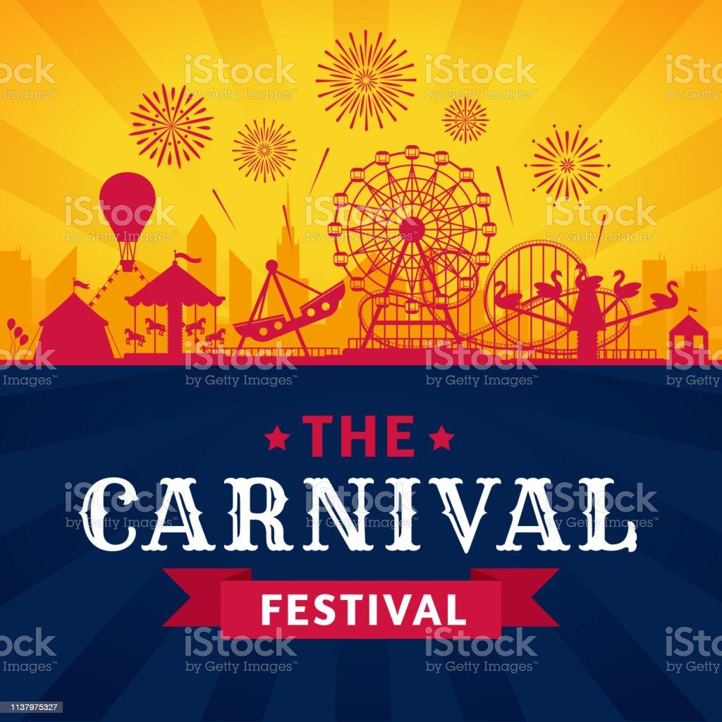 Attractiepark poster. Achtbaan, reuzenrad en Carnaval carrousel feestelijke parken attracties vector silhouet achtergrond - Royalty-free Aankondigingsbericht vectorkunst