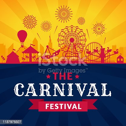 Amusement park poster. Roller coaster, ferris wheel and carnival carousel festive parks attractions. Circus carnival or funfair entertainment invitation banner. Vector silhouette background