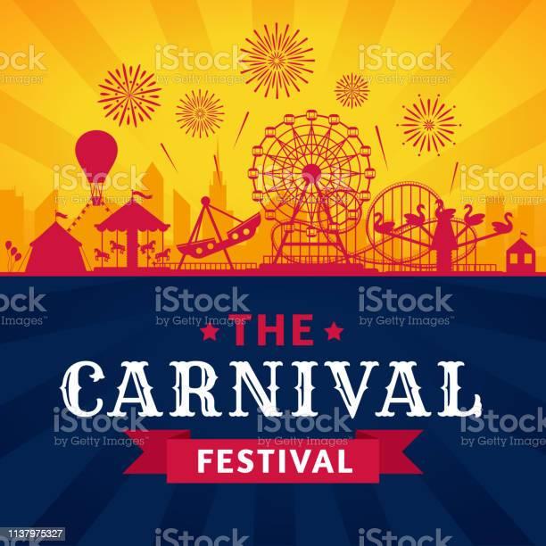 Attractiepark Poster Achtbaan Reuzenrad En Carnaval Carrousel Feestelijke Parken Attracties Vector Silhouet Achtergrond Stockvectorkunst en meer beelden van Aankondigingsbericht