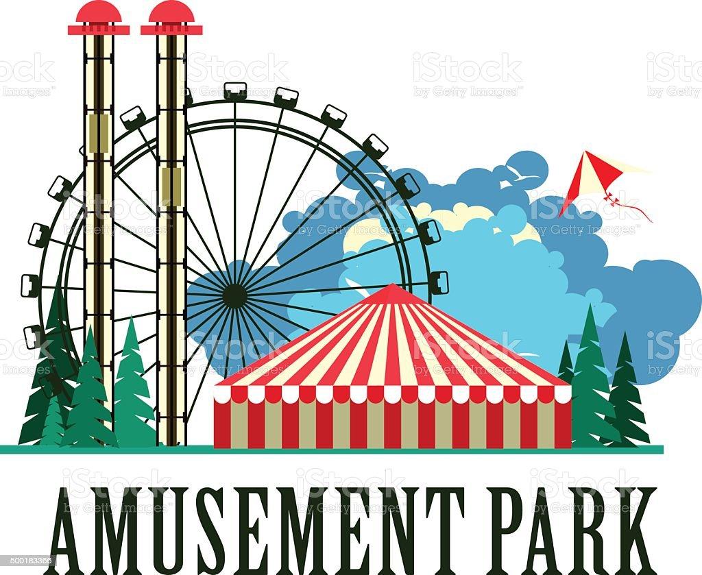 amusement park poster stock vector art more images of 2015 rh istockphoto com amusement park rides clipart amusement park clipart free