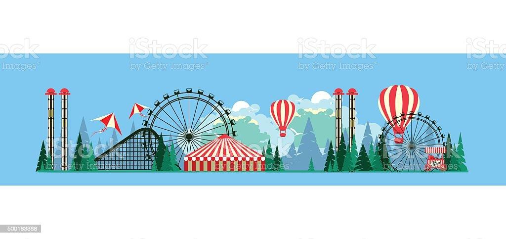 Amusement park poster vector art illustration