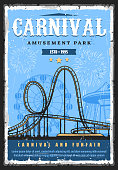 Amusement park roller coaster rides, funfair carnival and attractions, vector vintage retro poster. Family amusement park roller coaster mountain rides, Ferris wheel and carousels and fireworks