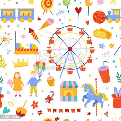 Amusement park seamless pattern. Vector background with carnival and festival elements: ferris wheel, carousel, sweet food and happy children