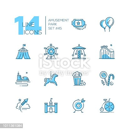 Amusement park - set of line design style icons isolated on white background. High quality blue pictograms. Tickets, balloons, circus, big wheel, carousel, roller coaster, pop corn, lollipops, castle