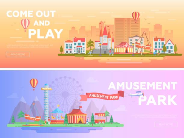 Amusement park - set of modern flat vector illustrations vector art illustration