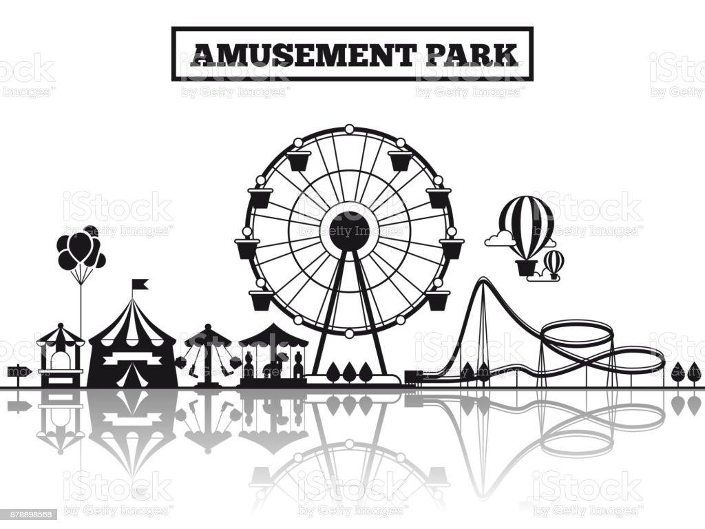 Amusement park silhouette banner design vector art illustration