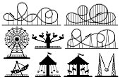 Amusement park silhouette. Roller coaster, festive carnival carousel and ferris wheel. Park rollers construction, fair attractions or fairground carousel. Vector isolated sign silhouettes set