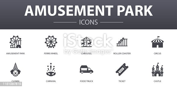 amusement park simple concept icons set. Contains such icons as Ferris wheel, Carousel, Roller coaster, carnival and more, can be used for web, logo, UI/UX