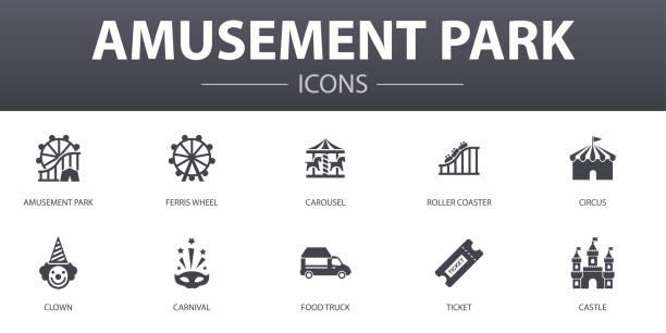 amusement park simple concept icons set. contains such icons as ferris wheel, carousel, roller coaster, carnival and more, can be used for web, logo, ui/ux - roller coaster stock illustrations