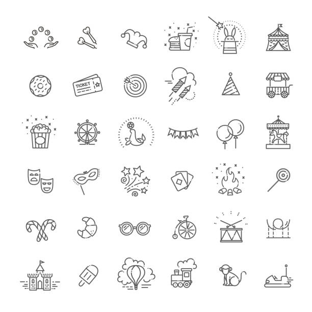 Amusement park sings set. Thin line art icons Thin line web icons set - amusement park for your design pyrotechnic effects stock illustrations