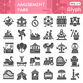 Amusement park solid icon set, children entertainment symbols collection or sketches. Playground glyph style signs for web and app. Vector graphics isolated on white background