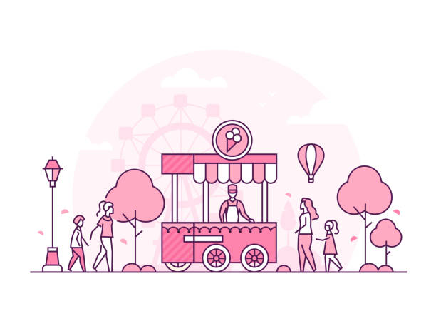 illustrazioni stock, clip art, cartoni animati e icone di tendenza di amusement park - thin line design style vector illustration - city walking background