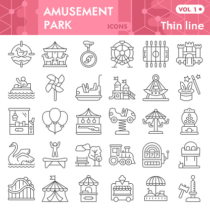 Amusement park thin line icon set, children entertainment symbols collection or sketches. Playground linear style signs for web and app. Vector graphics isolated on white background.