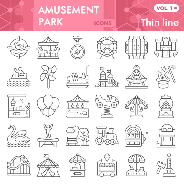 Amusement park thin line icon set, children entertainment symbols collection or sketches. Playground linear style signs for web and app. Vector graphics isolated on white background. Amusement park thin line icon set, children entertainment symbols collection or sketches. Playground linear style signs for web and app. Vector graphics isolated on white background travel destination illustrations stock illustrations