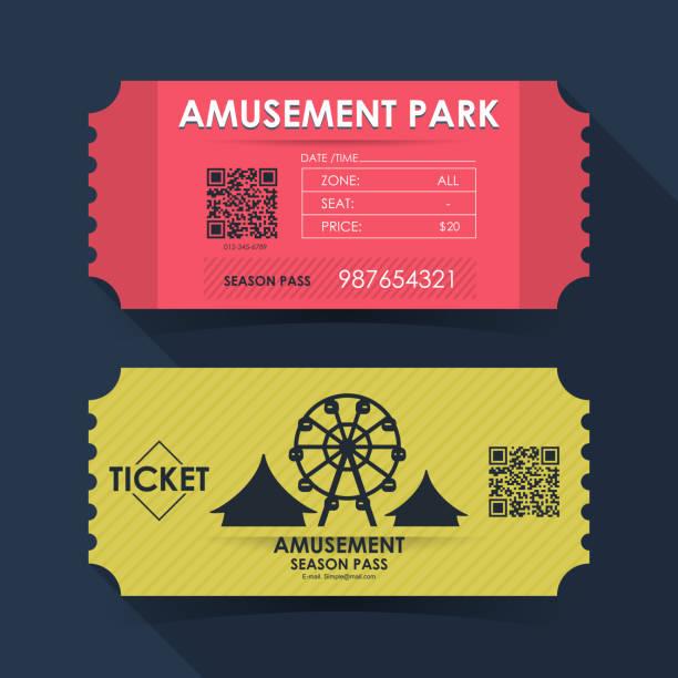 놀이 공원 티켓 카드입니다. 그래픽 디자인에 대 한 서식 파일 요소입니다. 벡터 일러스트 레이 션 - 티켓 스텁 stock illustrations