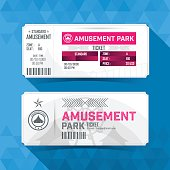 Amusement park Ticket Card. Vintage Element Design.
