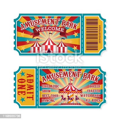 Amusement park ticket. Family park attractions admission tickets, fun festival vintage event receipt. Fair raffle coupons. Vector set