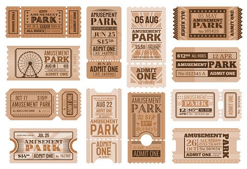 Amusement park ticket templates of circus show