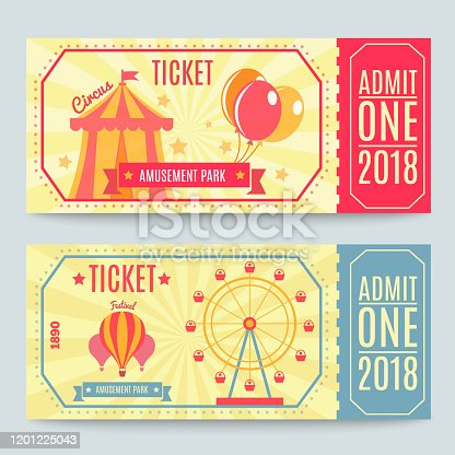 Amusement park tickets collection of two printed coupons with flat fairground attraction images and editable text vector illustration