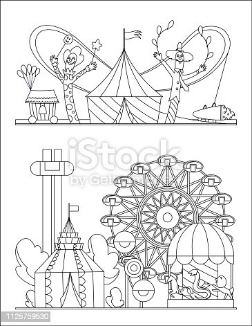 istock Amusement park, urban landscape with carousels, roller coaster and air balloon coloring book page. Circus, Fun fair and Carnival theme vector illustration. 1125759530