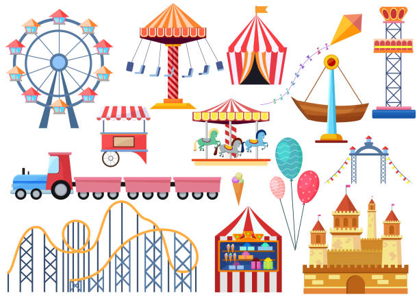 illustrazioni stock, clip art, cartoni animati e icone di tendenza di amusement park vector entertainment icons elements isolated. colorful cartoon flat ferris wheel, carousel, circus and castle isolated. - luna park