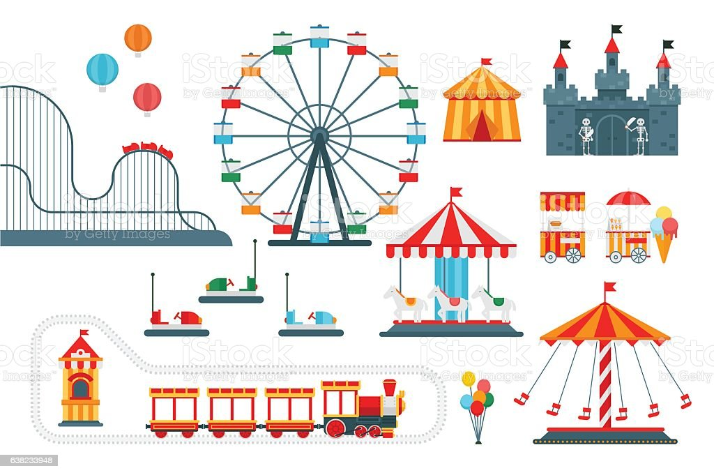 Amusement park vector flat elements for map vector art illustration