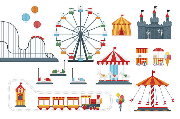 illustrazioni stock, clip art, cartoni animati e icone di tendenza di amusement park vector flat elements for map - luna park