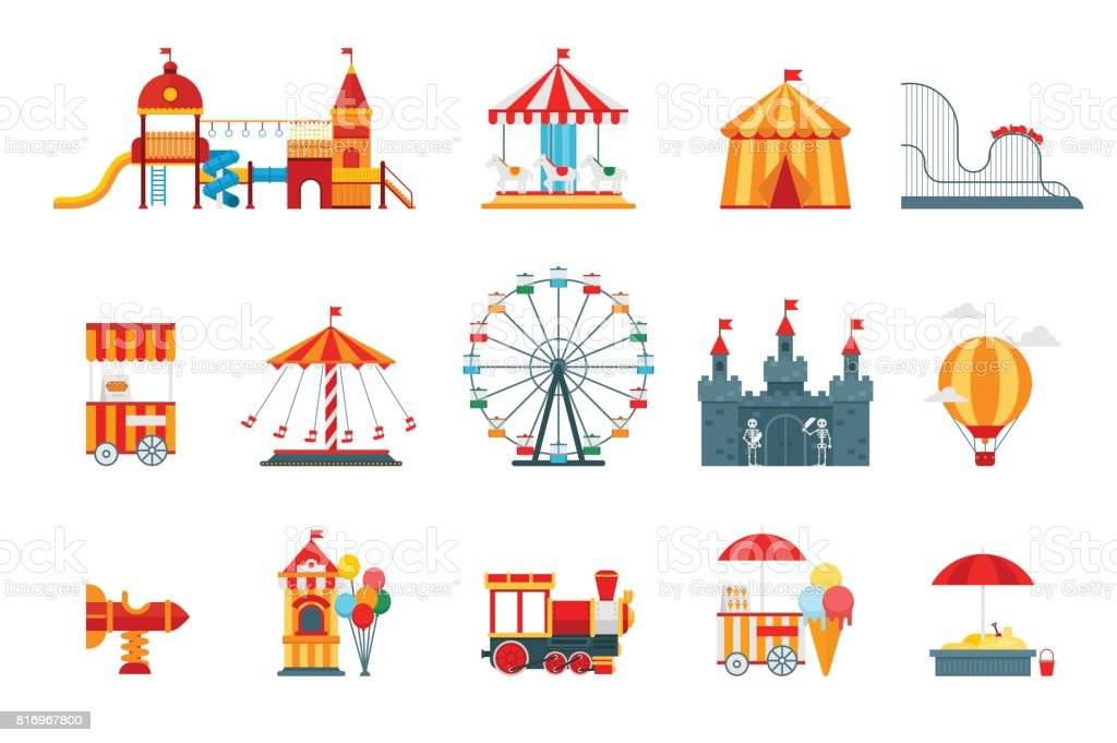 Amusement park vector flat elements, fun icons, isolated on white background with ferris wheel, castle, attractions, circus, air balloon, swings, carousel. Architecture entertainment elements vector royalty-free amusement park vector flat elements fun icons isolated on white background with ferris wheel castle attractions circus air balloon swings carousel architecture entertainment elements vector stock illustration - download image now