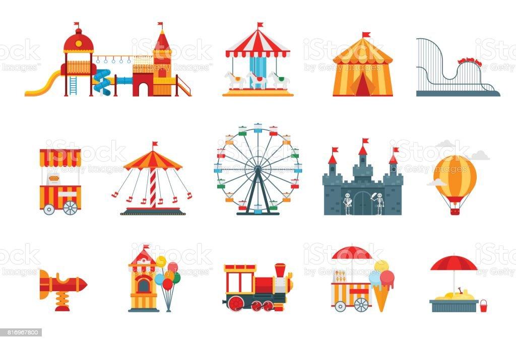Parque de atracciones vector elementos planos, iconos, aislados en fondo blanco con la noria, castillo, atracciones, circo, globo de aire, columpios, carrusel de diversión. Vector de elementos de arquitectura entretenimiento - ilustración de arte vectorial