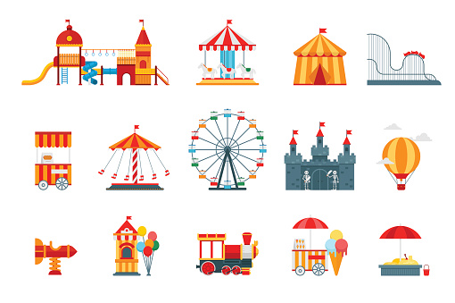 Amusement Park Vector Flat Elements Fun Icons Isolated On White Background With Ferris Wheel Castle Attractions Circus Air Balloon Swings Carousel Architecture Entertainment Elements Vector Stock Illustration - Download Image Now