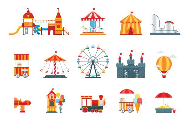 stockillustraties, clipart, cartoons en iconen met pretpark vector van vlakke elementen, leuke pictogrammen, geïsoleerd op een witte achtergrond met reuzenrad, kasteel, attracties, circus, luchtballon, schommels, carrousel. het platform entertainment elementen vector - attractiepark