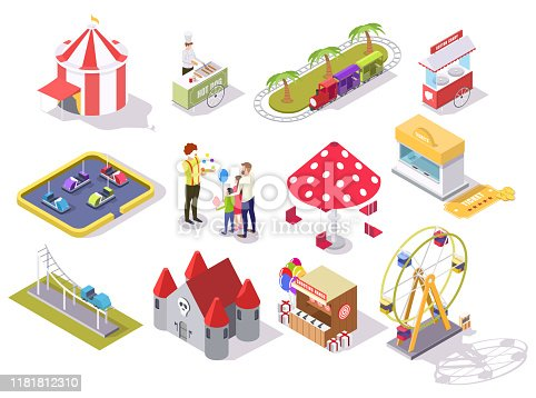 Amusement park vector flat isometric icon set with roller coaster carousel castle ferris wheel circus tent shooting range bumper cars train ride areas, cotton candy and hot dog carts, ticket office.