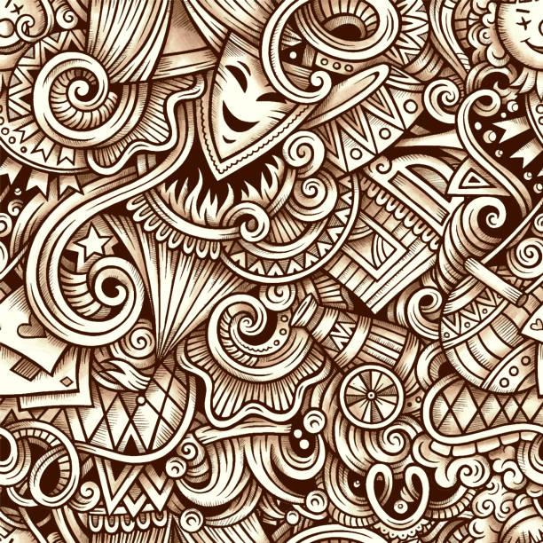 lunapark vektör el çizilmiş doodles sorunsuz desen. - small business saturday stock illustrations
