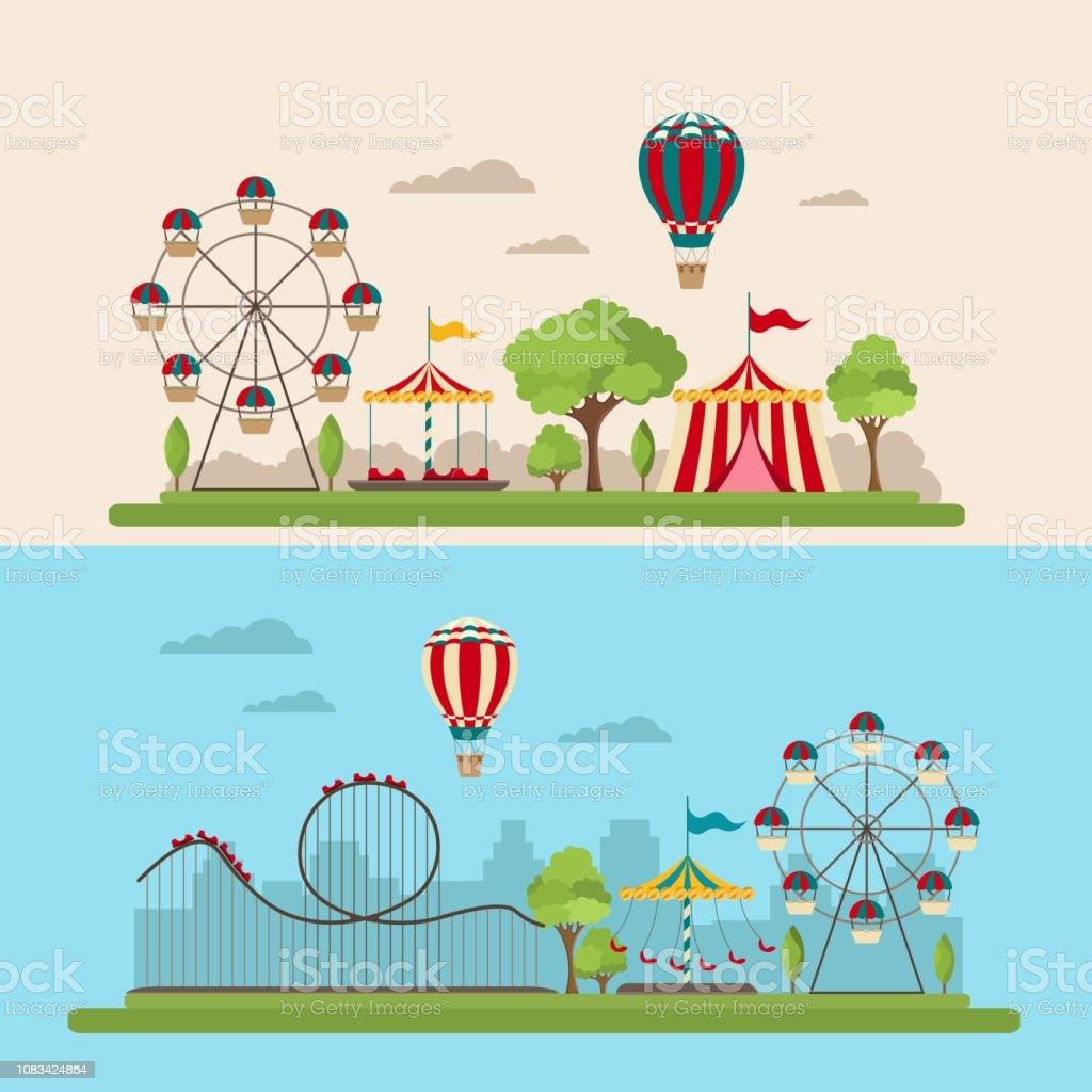 遊園地ベクトル イラスト漫画フラット アイコンのベクターアート素材や