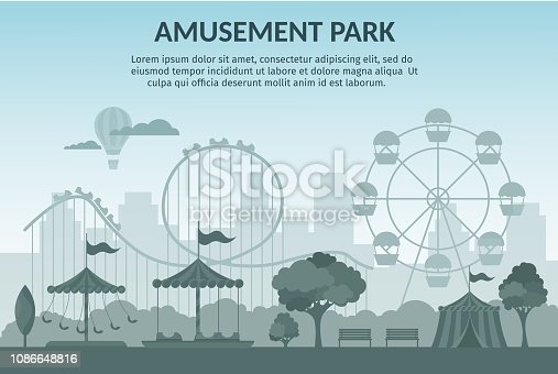 Amusement park vector illustration cartoon flat
