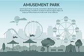 Amusement park vector illustration cartoon flat