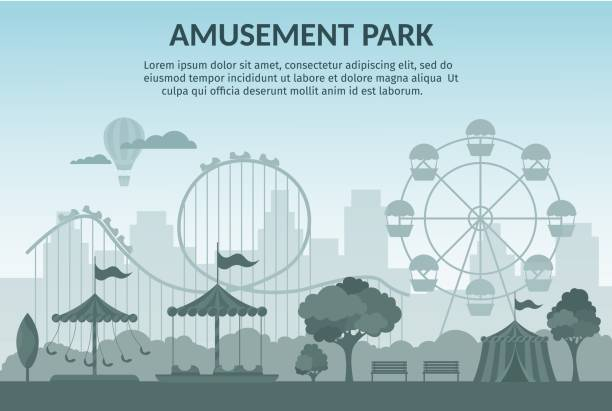 amusement park vector illustration cartoon flat - tradycyjny festiwal stock illustrations