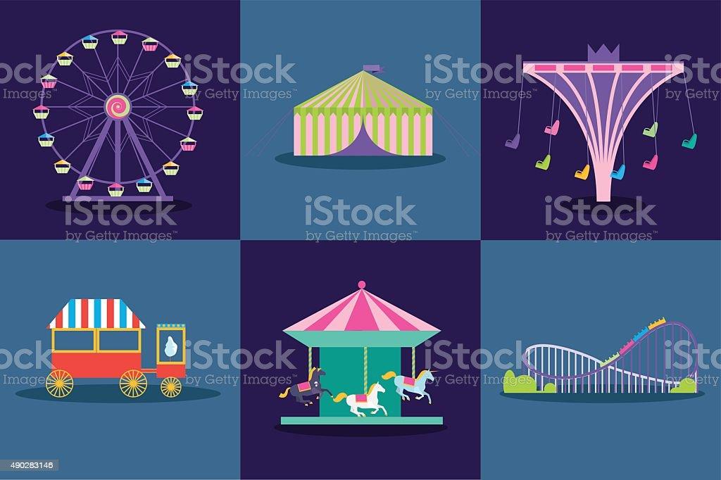 Amusement park vector set. Ferris wheel, roller coaster, popcorn vector art illustration