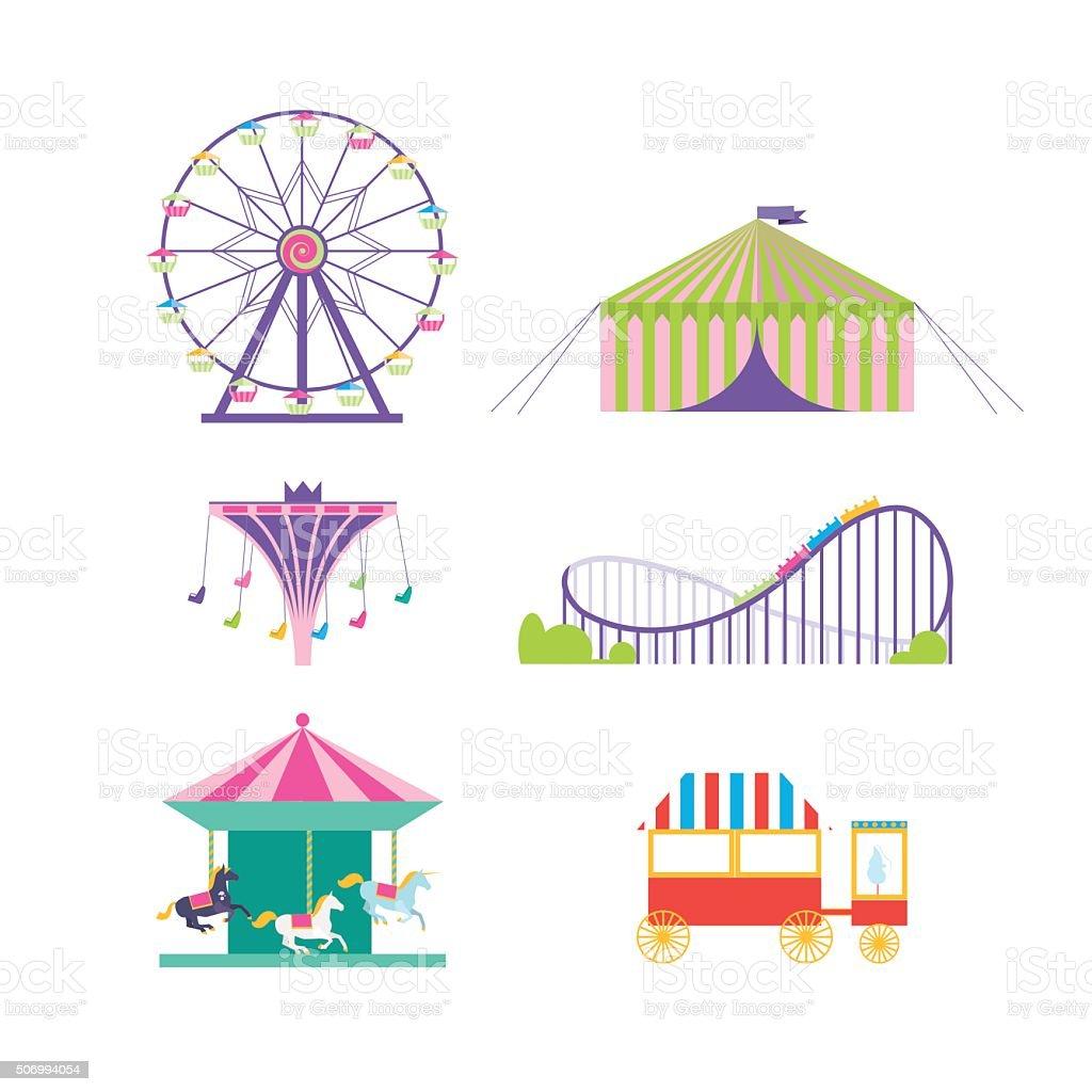 Amusement park vector set. vector art illustration