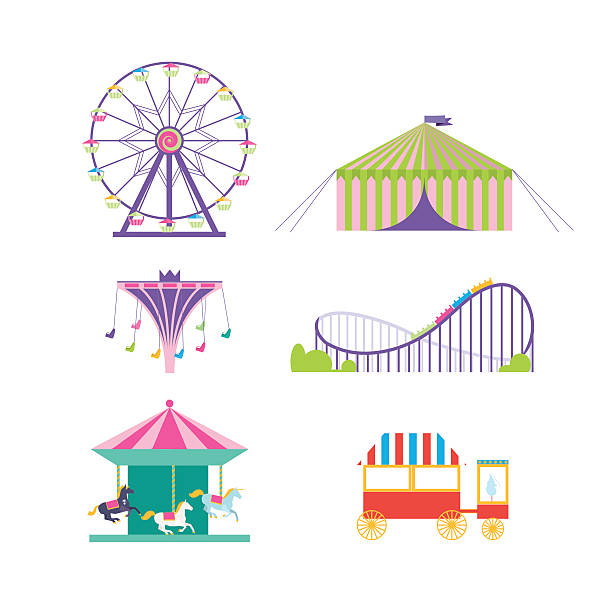 amusement park vector set. - roller coaster stock illustrations