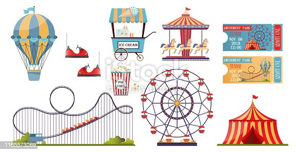 Amusement park vector set with flat elements isolated on white background. Fun fair theme set  with roller coasters, carousels, air balloon.