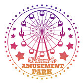 Amusement park welcome emblem icon isolated on white
