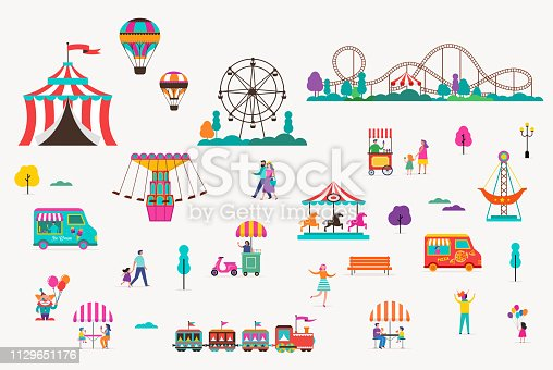 Amusement park with carousels, air balloons and roller coaster. Circus, Fun fair and Carnival icon collection